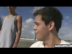 Jock in rooftop get hazed by older dudes
