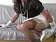 crossdress white skirt