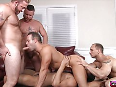 Five guys in crazy gay orgy