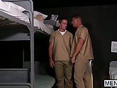 Hunky muscle guys Landom and Sebastian having sex in prison