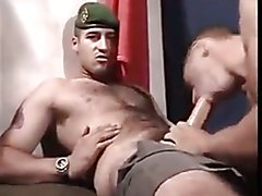 Hairy hunk cums on his own face - three cumshots