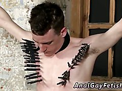 Gay bondage handjob milking With his tender nut tugged and his shaft masturbated and
