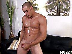 Duty Gay Max Jerks His Hard Dick